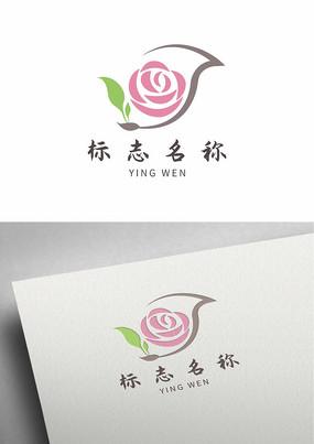 女性花茶玫瑰茶叶标志logo