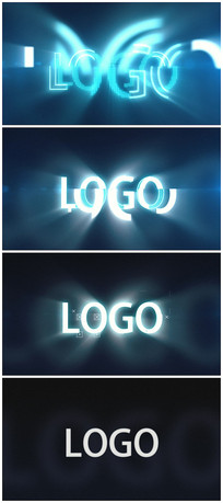 数字碎片汇聚logo视频模板