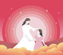 原创母亲节儿童插画