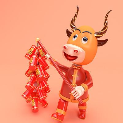 中国牛举爆竹人偶