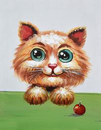 高清卡通抽象小猫咪油画图