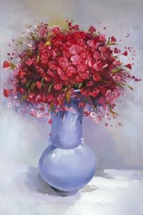 花卉花瓶红色花瓣玄关装饰画