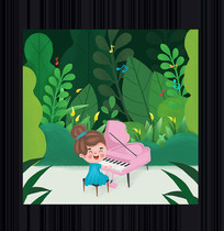 女孩弹钢琴插画