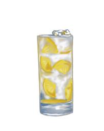 手绘柠檬冷饮水果美食插画