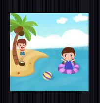 夏天游泳旅行插画