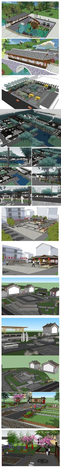中式园林建筑模型