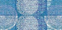 高端大气抽象蓝色欧式几何背景墙