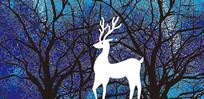 高端大气蓝色欧式麋鹿树林背景墙