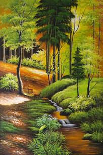 金秋小树林流水麋鹿玄关装饰画