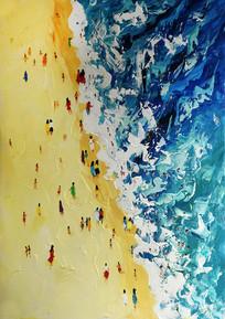 手绘沙滩海景风景油画图