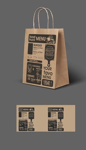 高档牛皮纸手提袋包装印刷平面图