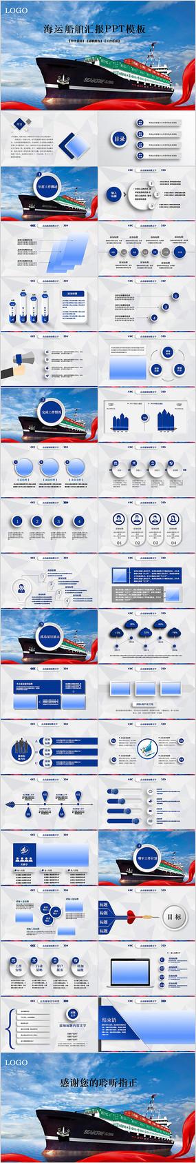 蓝色大气海运船舶动态PPT模板