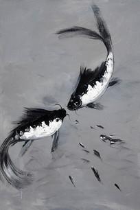 手绘金鱼黑白油画图