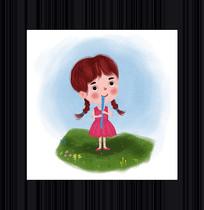 吹笛子的小女孩手绘插画