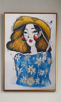 纯手绘清新现代美女油画艺术玄关
