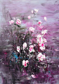高清立体抽象粉色花开富贵油画无框画