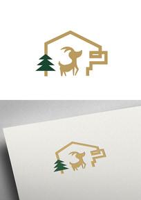 简约可爱小鹿树不规则标志LOGO