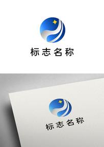 简约星星球形条带logo