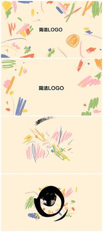 简洁卡通笔刷logo片头视频模板