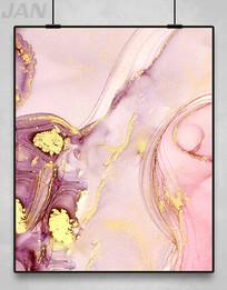 粉色鎏金装饰画