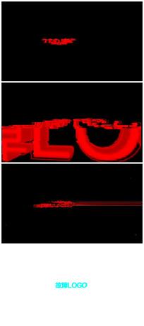 信号干扰失真logo标志开场片头视频模板