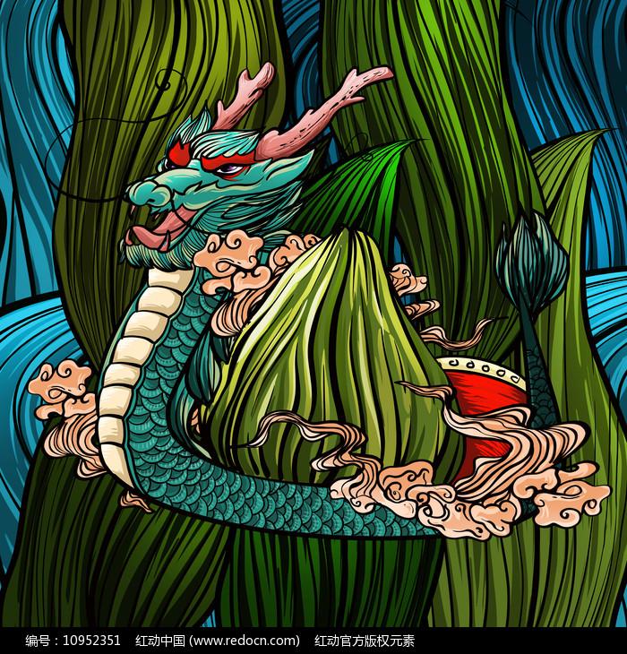 原创中国风端午节龙舟插画图片