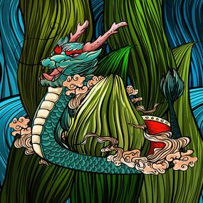 原创中国风端午节龙舟插画