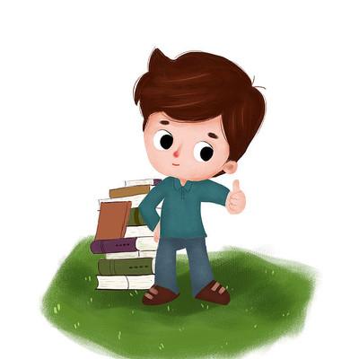 读书阅读的男孩