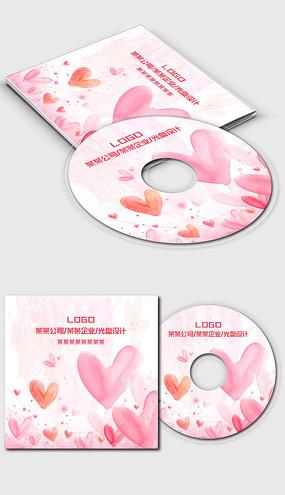 粉红色唯美浪漫小清新可爱光盘封面设计