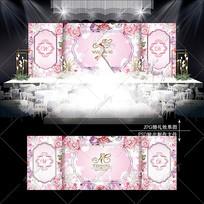 粉色花卉主题婚礼轻奢浪漫婚庆背景设计