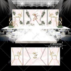 浅粉色主题婚礼效果图设计大理石纹婚庆