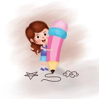 抱铅笔的女孩