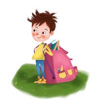 开学上学背书包的男孩