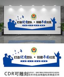 蓝色创意公安文化墙设计