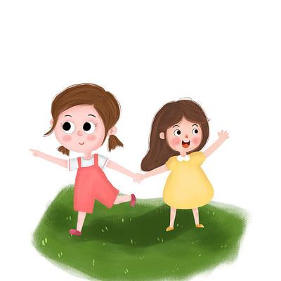 两个女孩手拉手