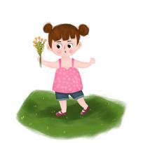 献花的小女孩
