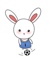 原创可爱卡通动物踢足球运动兔