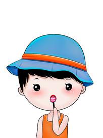 原创可爱卡通人物吃棒棒糖男孩