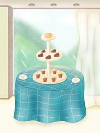 原创手绘装饰画下午茶食品点心卡通