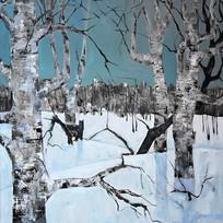纯手绘森林雪景风景油画图