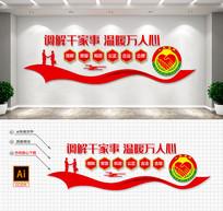 红色飘带人民调解室社区调解文化墙