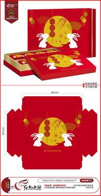 红色喜庆中秋月饼包装设计