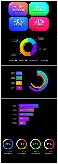 企业数据统计图表ae模板