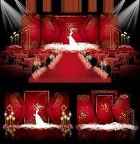 中式婚礼主题背景板