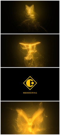 4k震撼唯美金色鸟形粒子logo演绎片头视频模板