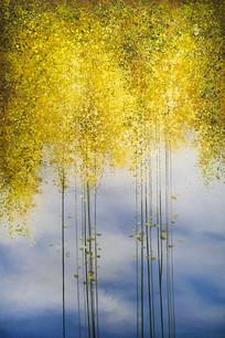 金黄发财小树林玄关装饰画