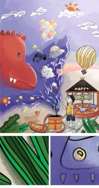 原创儿童节恐龙人物风景插画装饰画设计素材