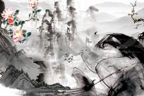 中国风高端水墨山水背景墙