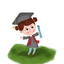戴博士帽的小女孩