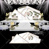 大理石纹婚礼效果图设计浪漫清新婚庆舞台